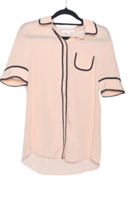 Buy: Baby pink short sleeve shirt with black detailing Size 14