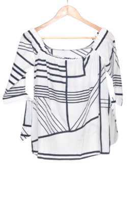 Buy: Off-the-shoulder white top with blue lines Size 8